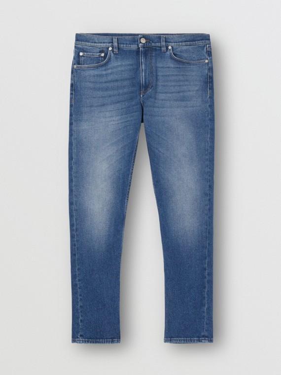 Slim Fit Washed Denim Jeans in Indigo Blue
