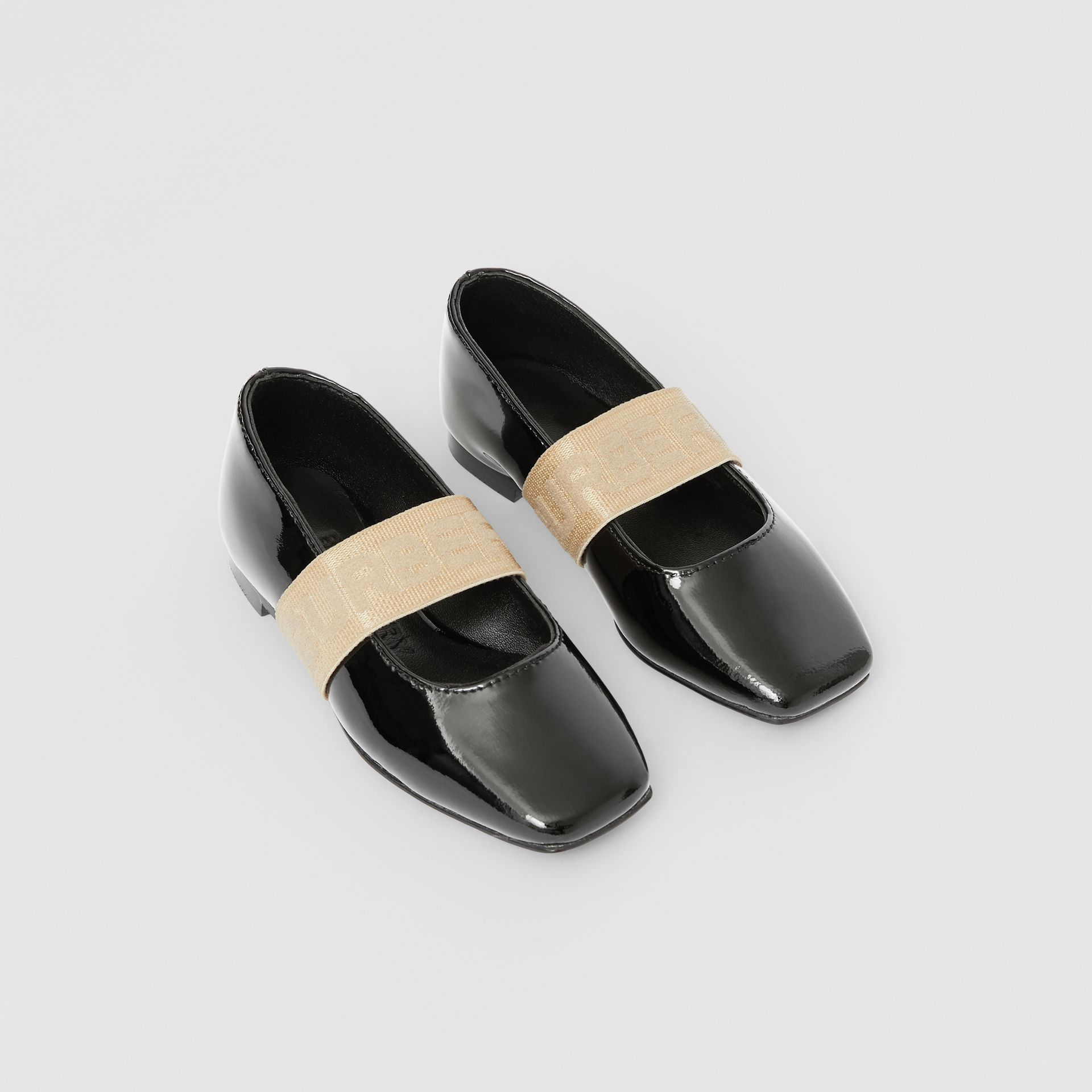 Logo Detail Patent Leather Flats in Black - Children | Burberry Australia - gallery image 0