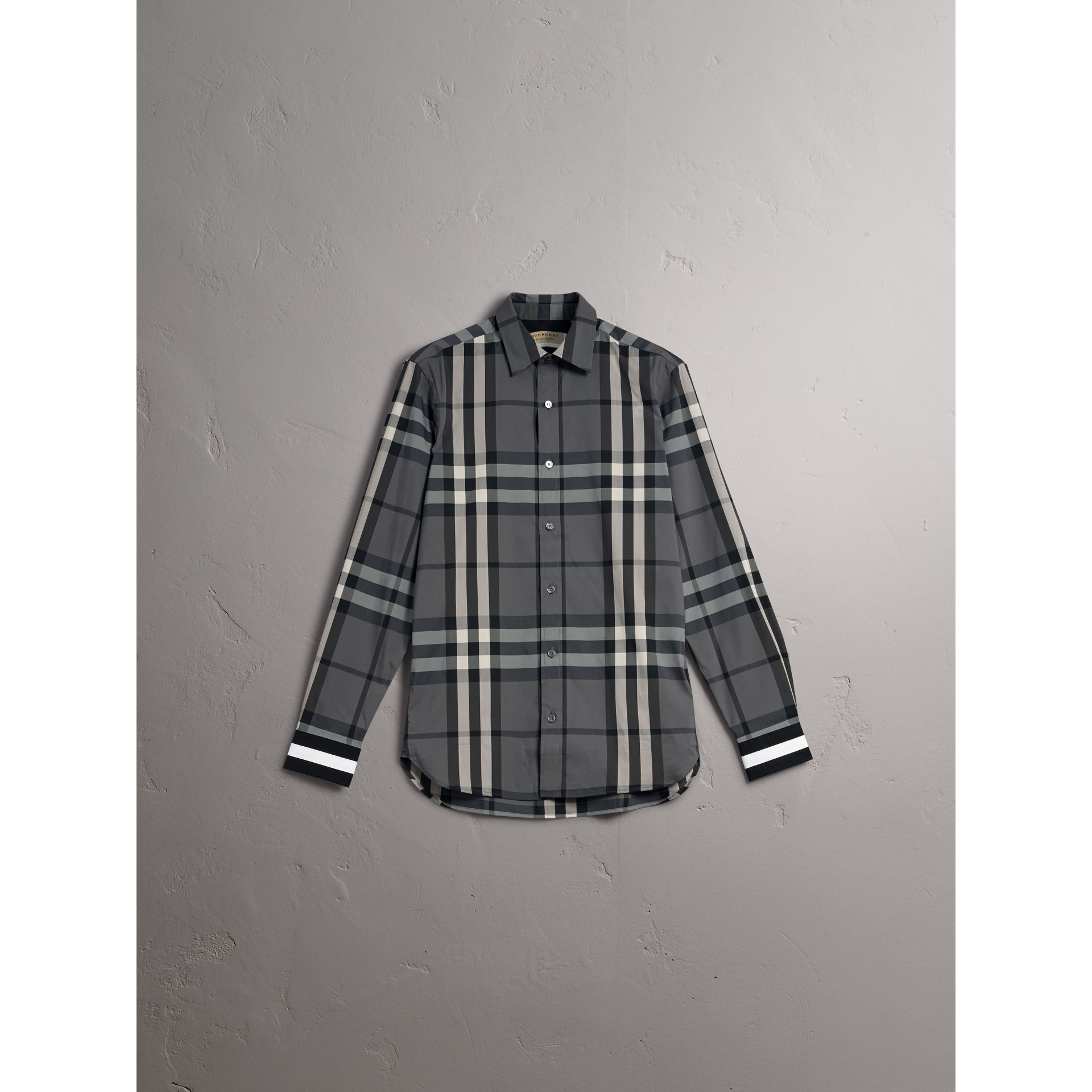 Striped Cuff Check Cotton Blend Shirt in Charcoal - Men | Burberry - gallery image 3