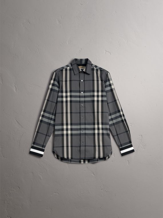 Striped Cuff Check Cotton Blend Shirt in Charcoal - Men | Burberry - cell image 3