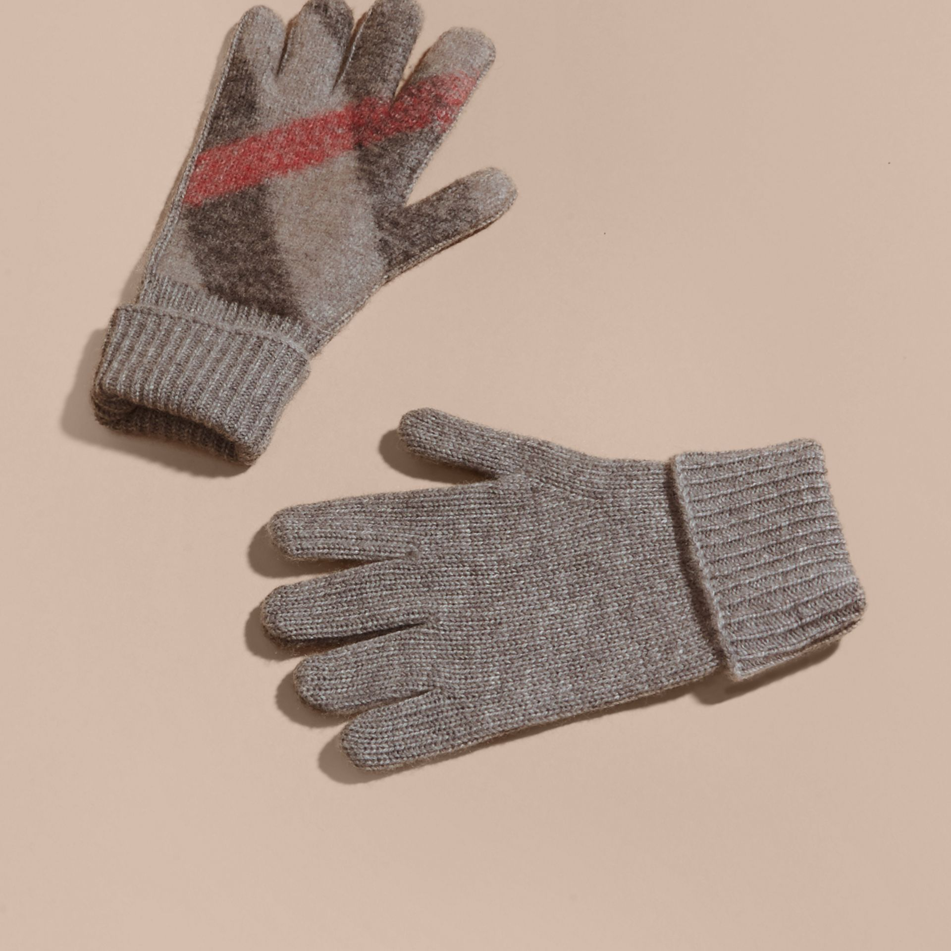 Light grey melange Check Detail Wool Cashmere Gloves - gallery image 3
