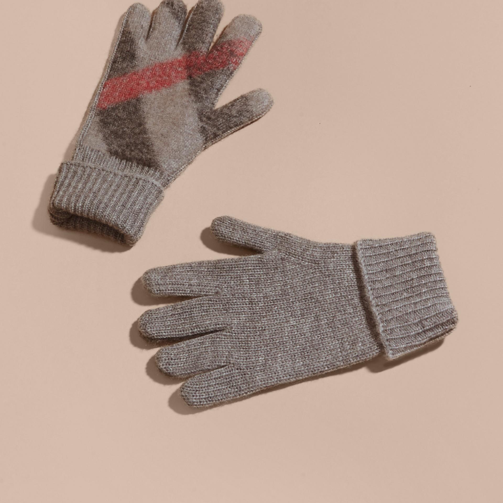 Cinza claro mesclado Luvas de lã e cashmere com detalhe xadrez - galeria de imagens 3