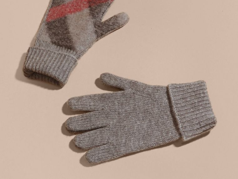 Light grey melange Check Detail Wool Cashmere Gloves - cell image 2