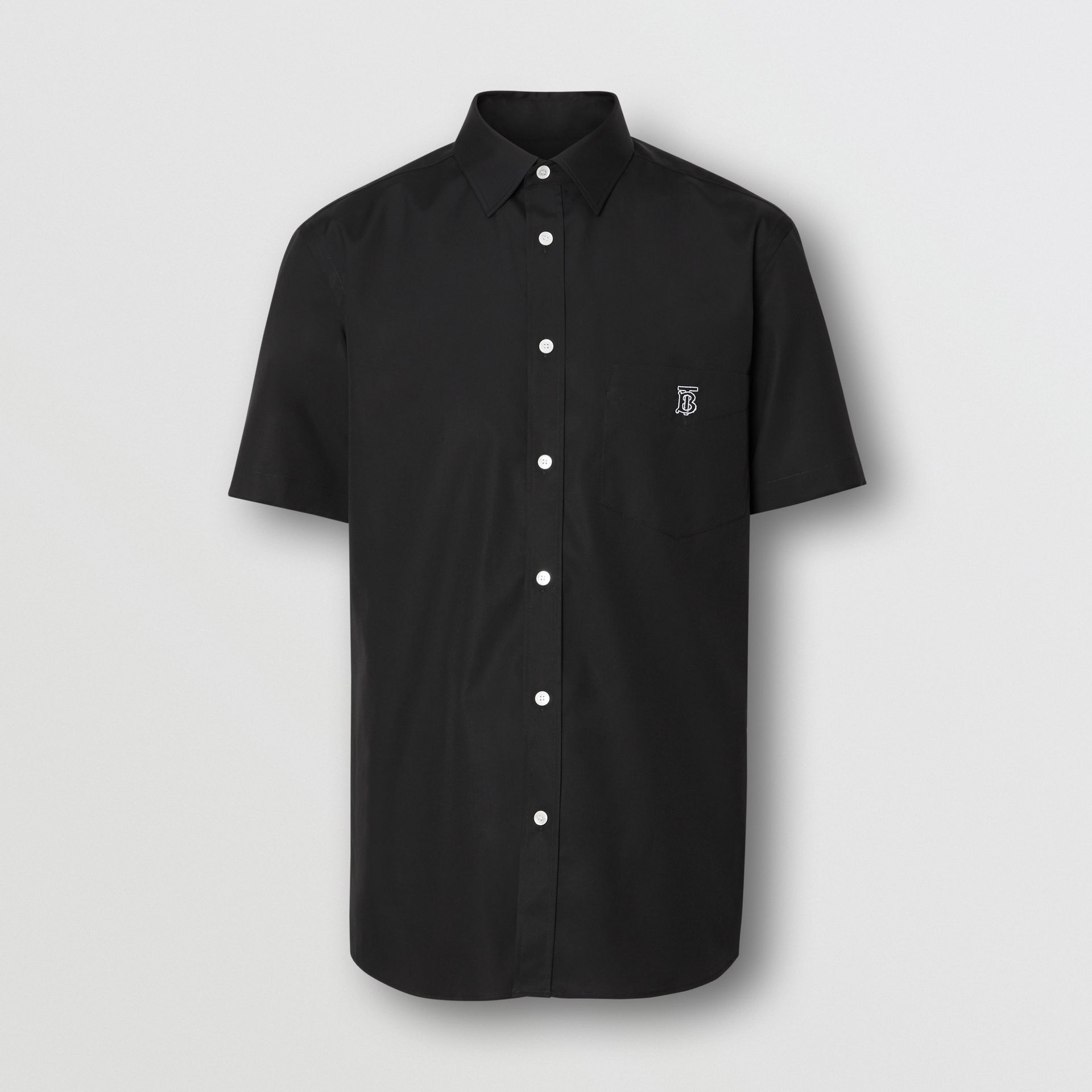 Short-sleeve Monogram Motif Stretch Cotton Shirt in Black - Men | Burberry Singapore - gallery image 3