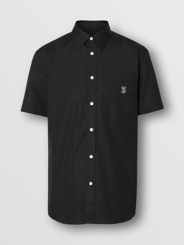 Short-sleeve Monogram Motif Stretch Cotton Shirt in Black - Men | Burberry Singapore - cell image 3