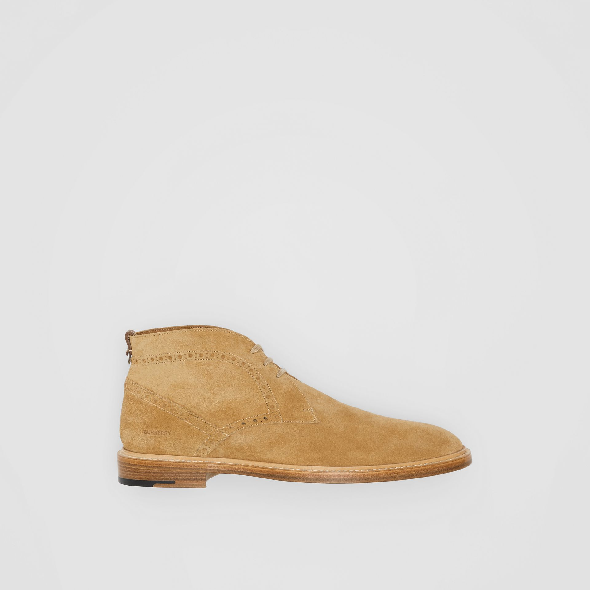 Brogue Detail Suede Boots in Sandy Beige - Men | Burberry - gallery image 0