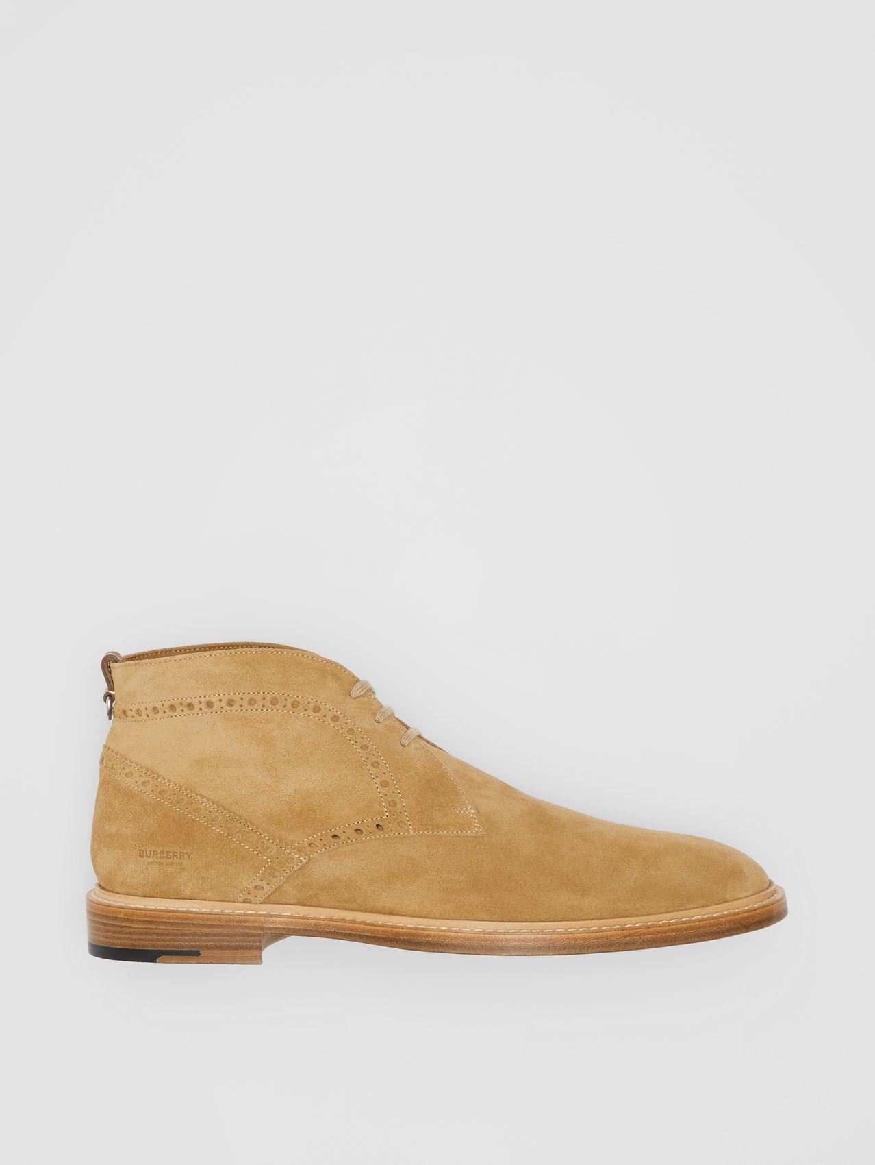 Brogue Detail Suede Boots in Sandy Beige