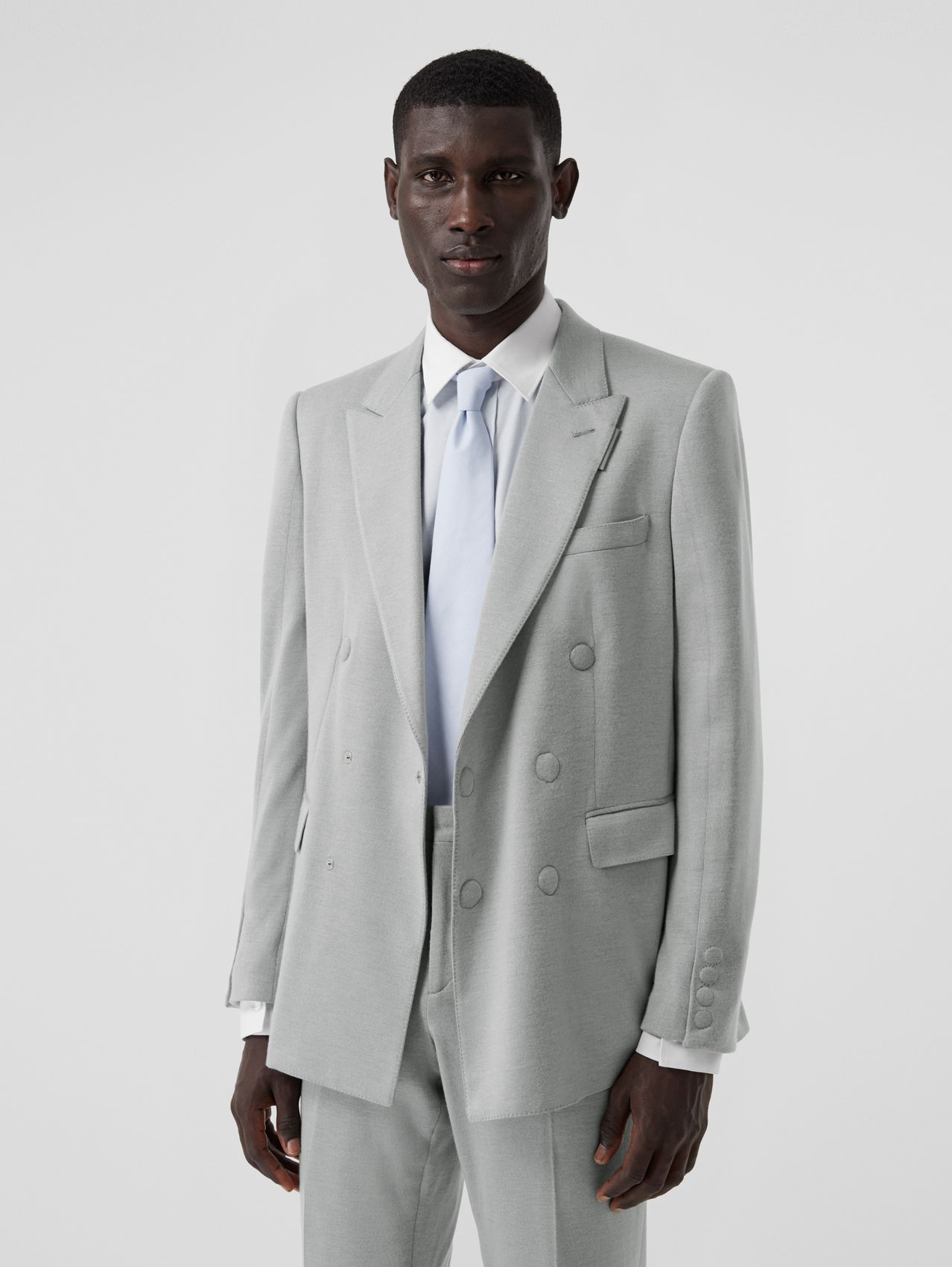 English Fit Cashmere Silk Jersey Double-breasted Jacket in Light Pebble Grey