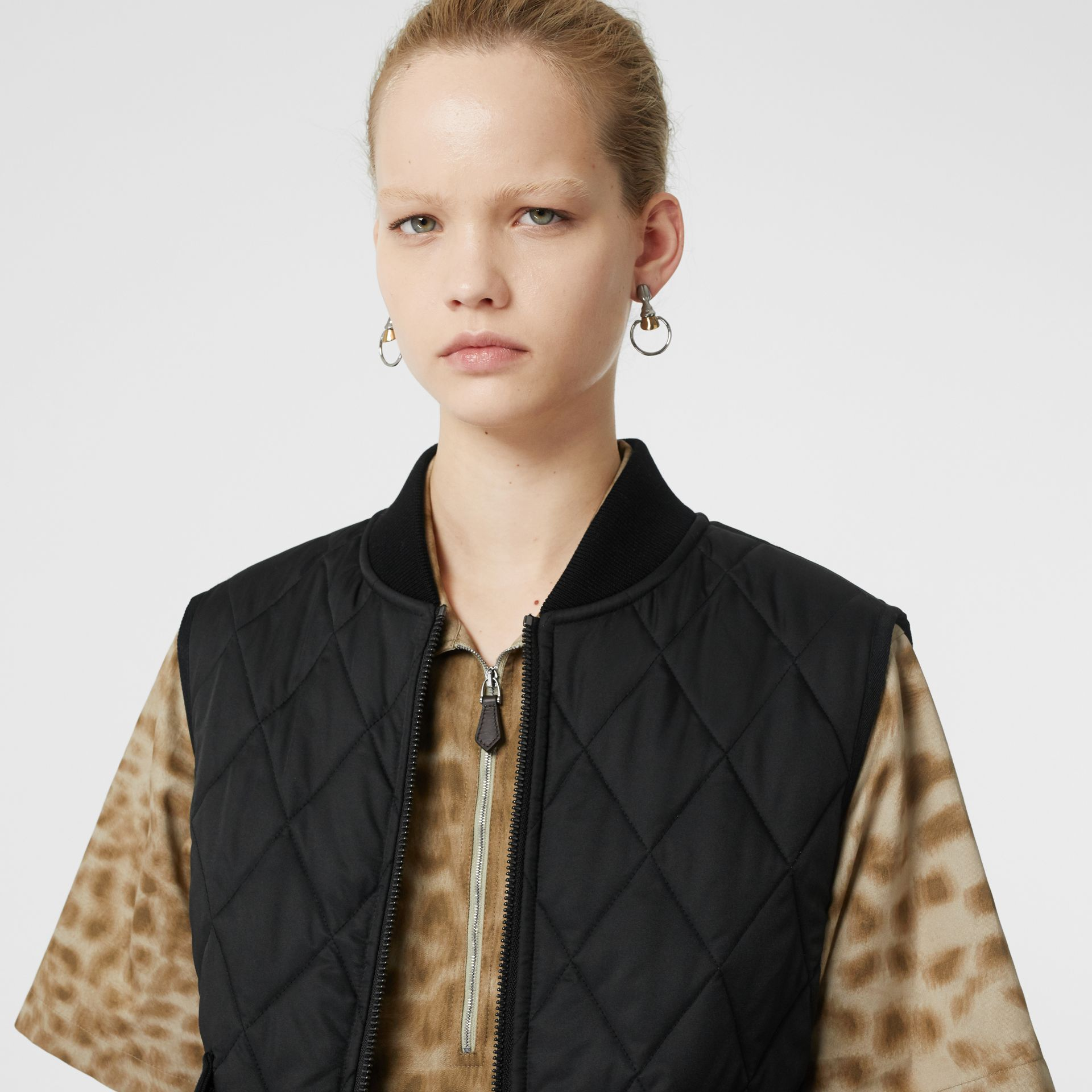 Monogram Motif Diamond Quilted Gilet in Black - Women | Burberry - gallery image 1