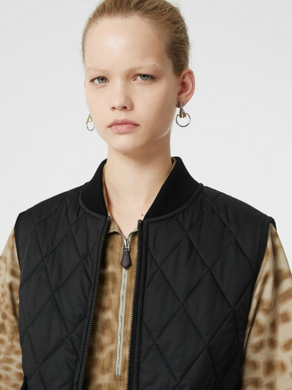 Monogram Motif Diamond Quilted Gilet in Black - Women | Burberry - cell image 1