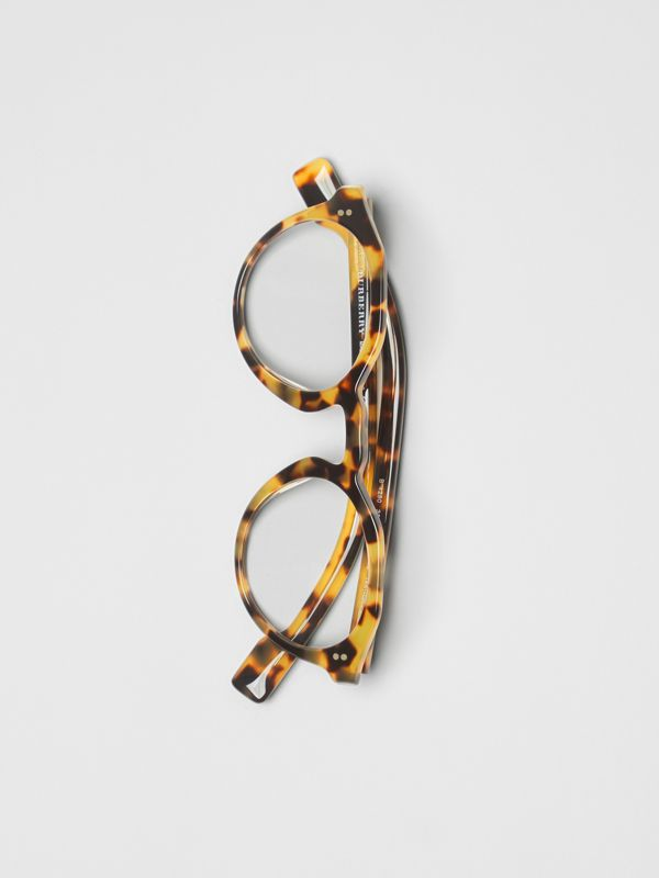 Keyhole Round Optical Frames in Tortoise Shell - Men | Burberry United Kingdom - cell image 3