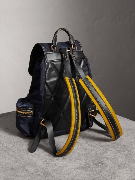 The Large Rucksack in Technical Nylon and Topstitched Leather in Dark Navy - Men | Burberry - cell image 2