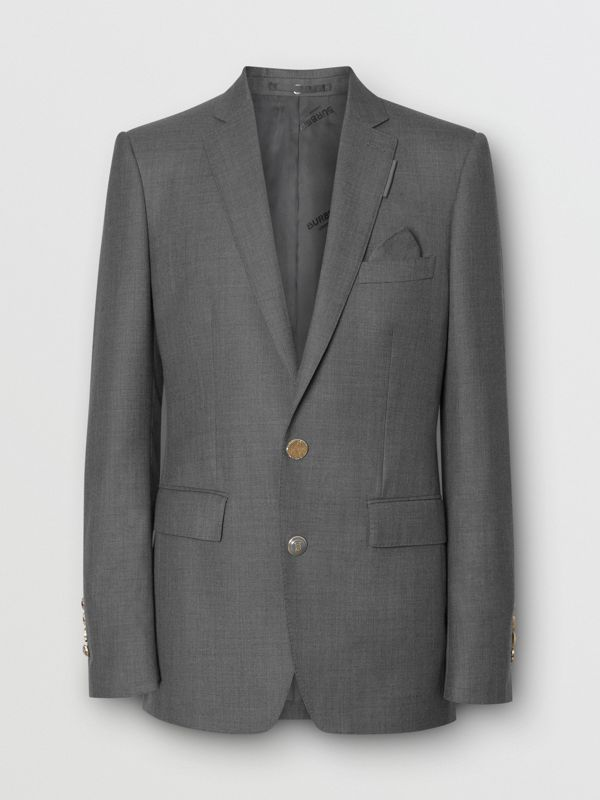 English Fit Metal Button Wool Tailored Jacket in Light Grey | Burberry - cell image 3