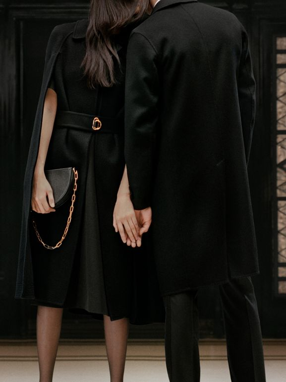 Double-faced Cashmere Belted Cape in Black - Women | Burberry United States - cell image 1