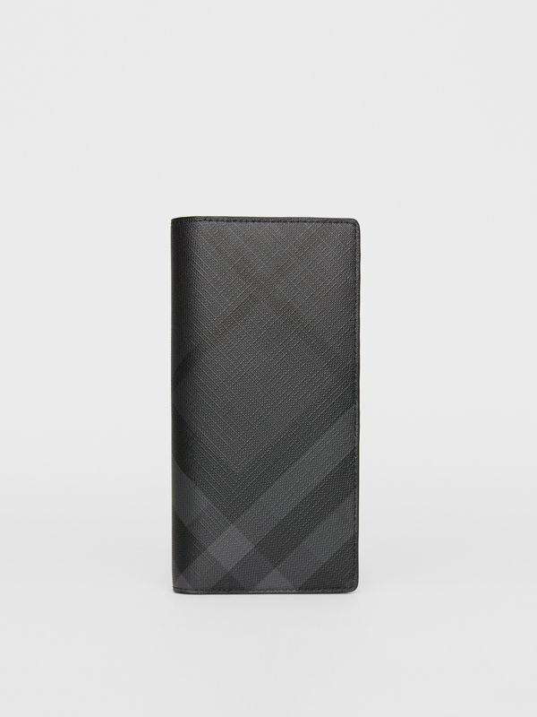 London Check and Leather Continental Wallet in Charcoal/black - Men | Burberry United States - cell image 2
