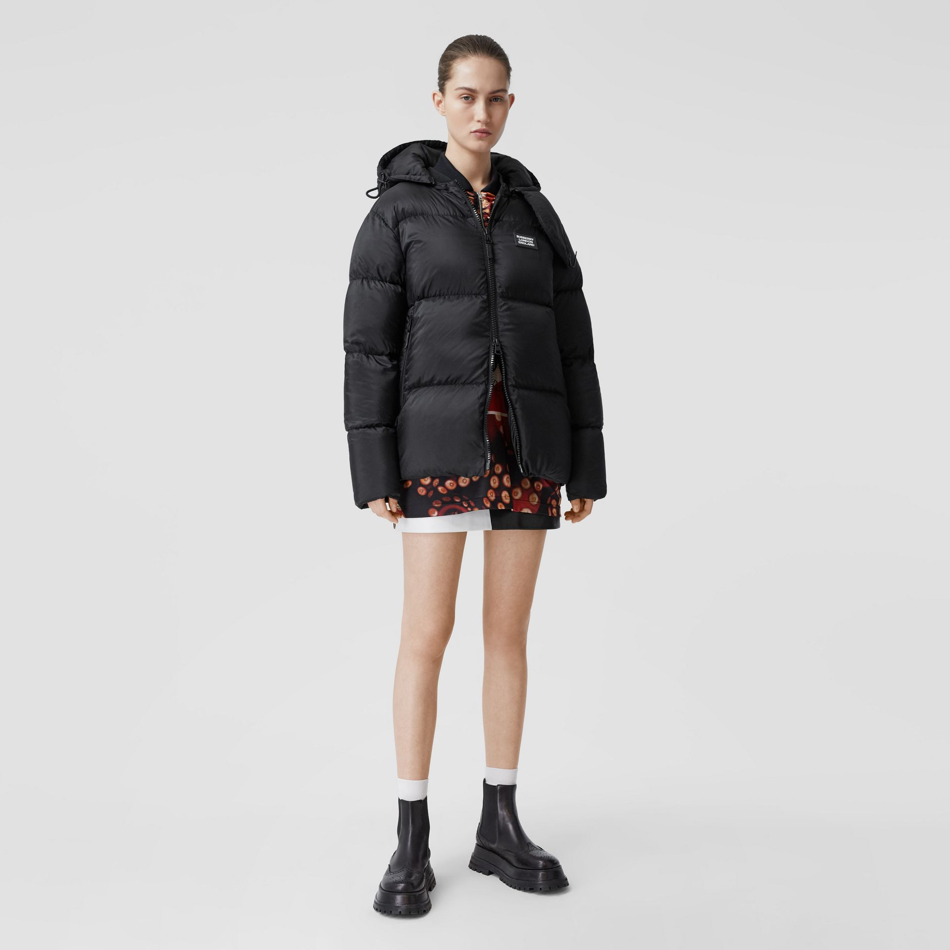 Monogram Stripe Print Puffer Jacket in Black | Burberry - gallery image 7