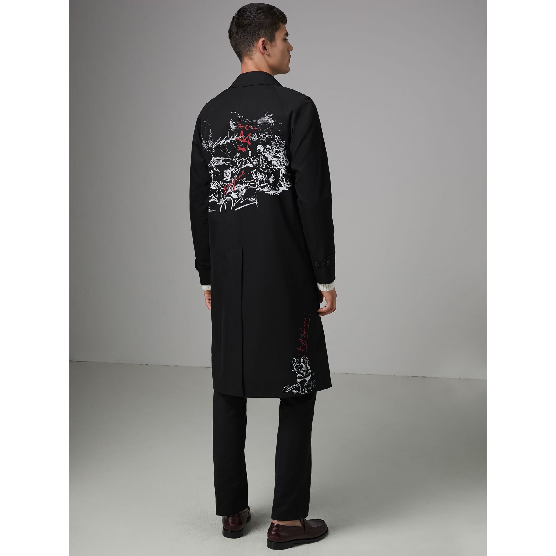 Sketch Print Car Coat in Black - Men | Burberry - gallery image 2