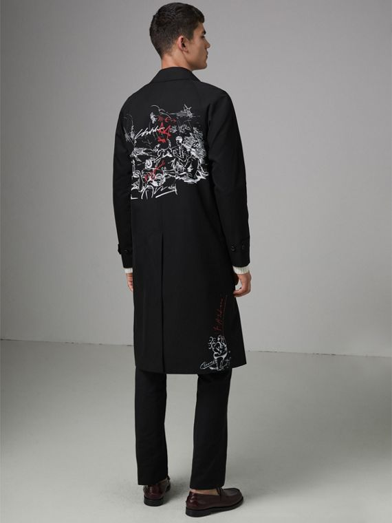 Sketch Print Car Coat in Black - Men | Burberry United States - cell image 2