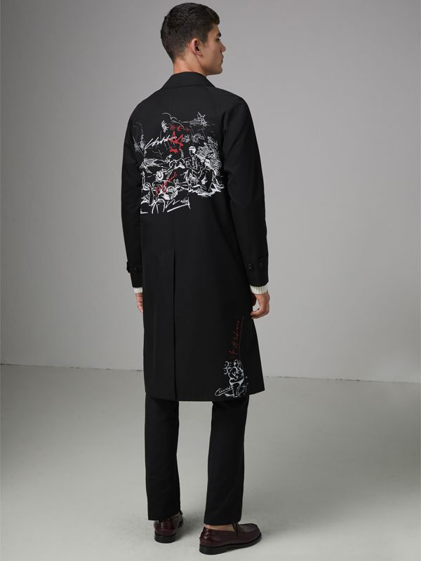 Sketch Print Car Coat in Black - Men | Burberry - cell image 2