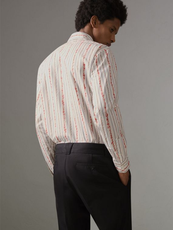 Scribble Stripe Cotton Shirt in Red - Men | Burberry - cell image 2
