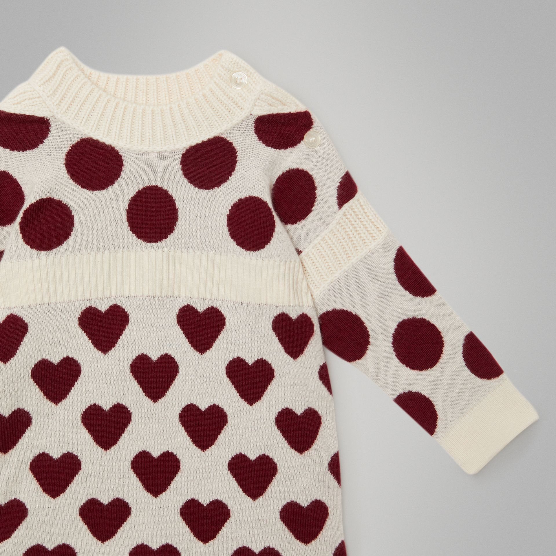 Heart and Spot Intarsia Cashmere Sweater Dress in Natural White - Children | Burberry - gallery image 4