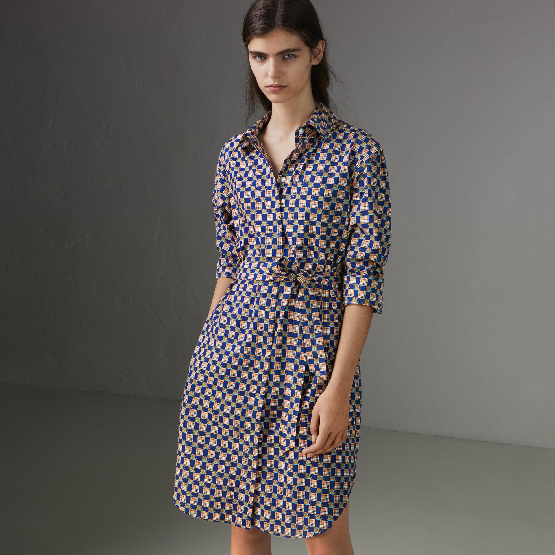 Tiled Archive Print Cotton Shirt Dress in Navy - Women | Burberry United States - gallery image 0