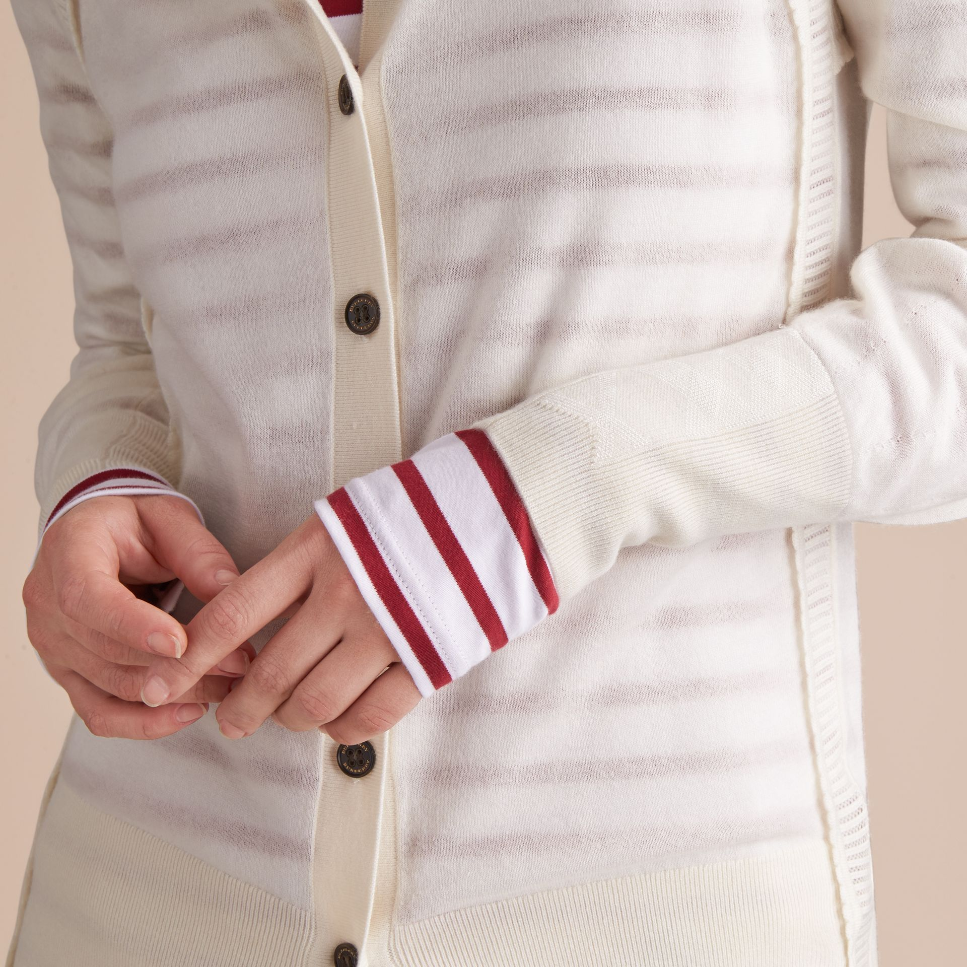 Open-knit Detail Cashmere Cardigan in Natural White - gallery image 5
