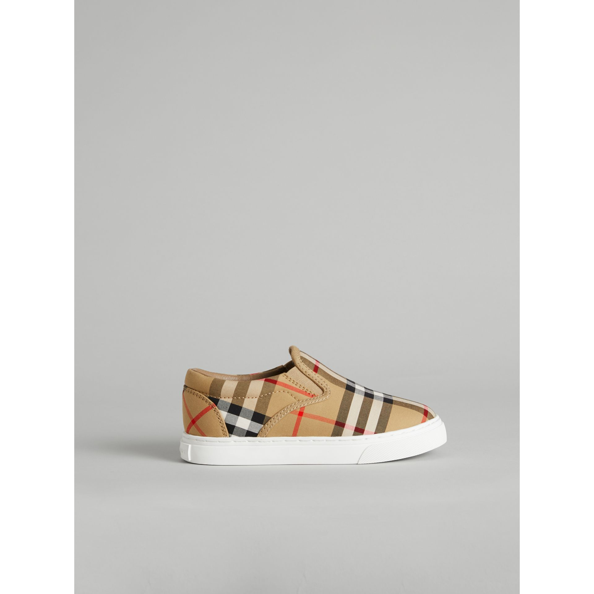 Vintage Check and Leather Slip-on Sneakers in Antique Yellow/optic White | Burberry United States - gallery image 3