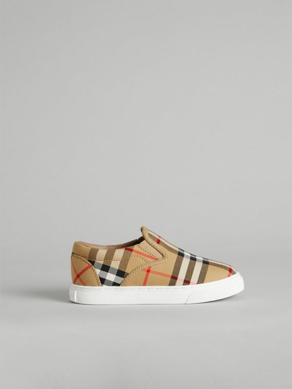 Vintage Check and Leather Slip-on Sneakers in Antique Yellow/optic White | Burberry Australia - cell image 3