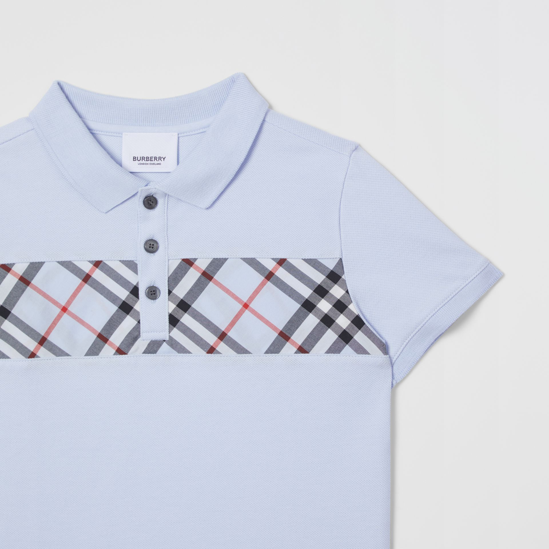 Check Panel Cotton Polo Shirt in Light Blue | Burberry - gallery image 3