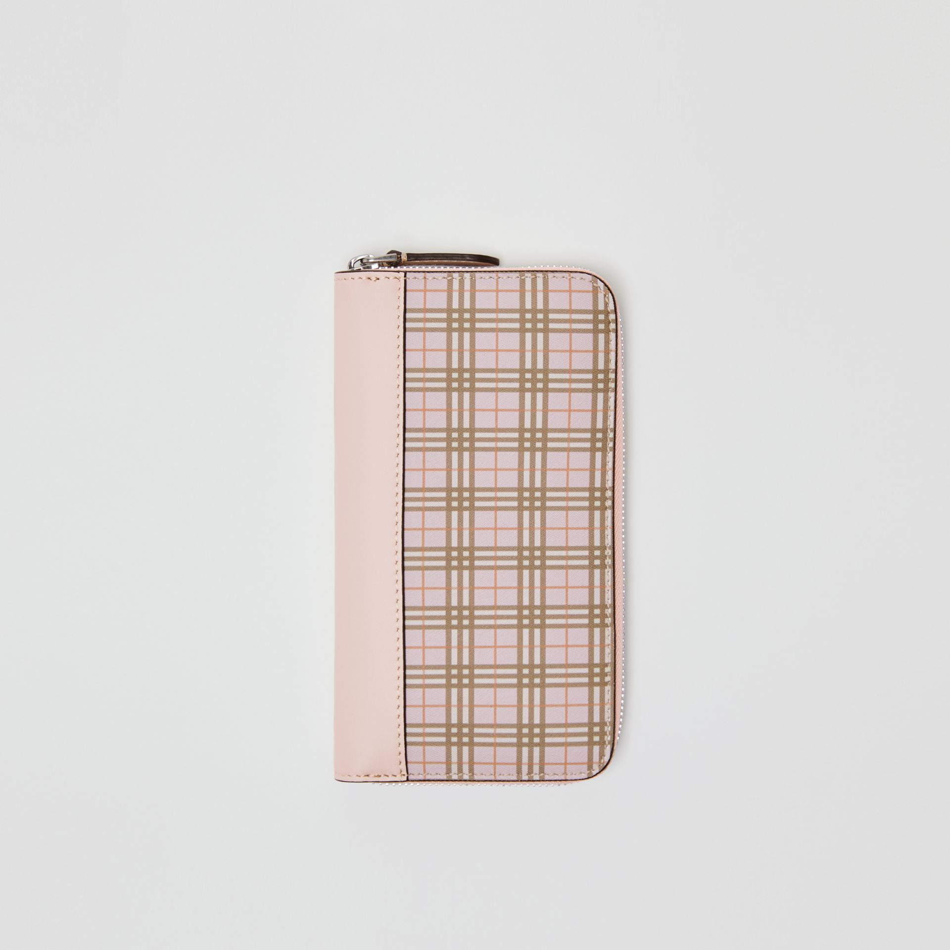 Small Scale Check and Leather Ziparound Wallet in Ice Pink - Women | Burberry - gallery image 0