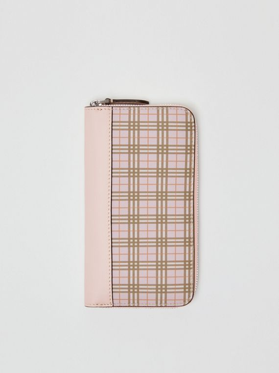 Small Scale Check and Leather Ziparound Wallet in Ice Pink