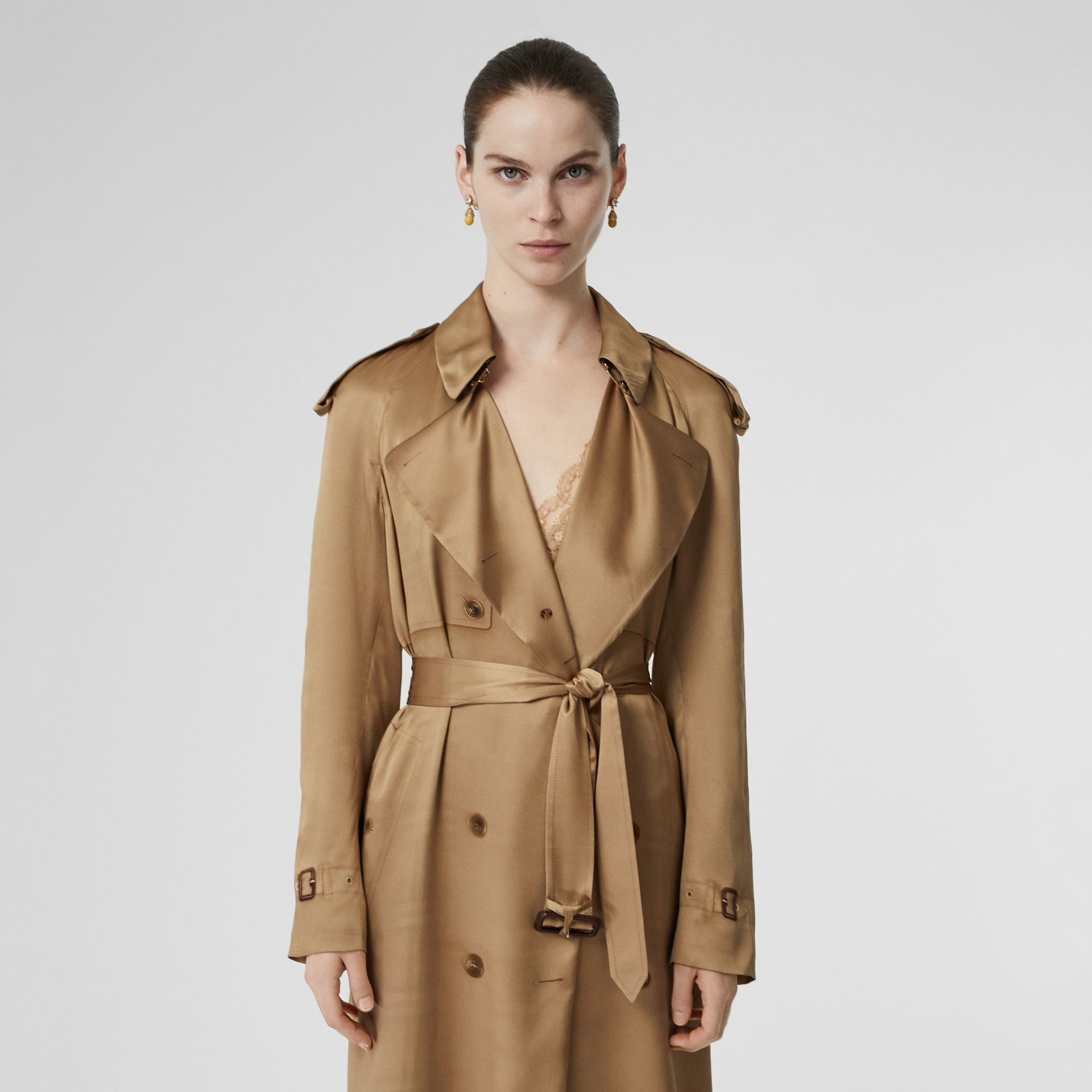 Silk Wrap Trench Coat in Honey - Women | Burberry Australia - gallery image 4