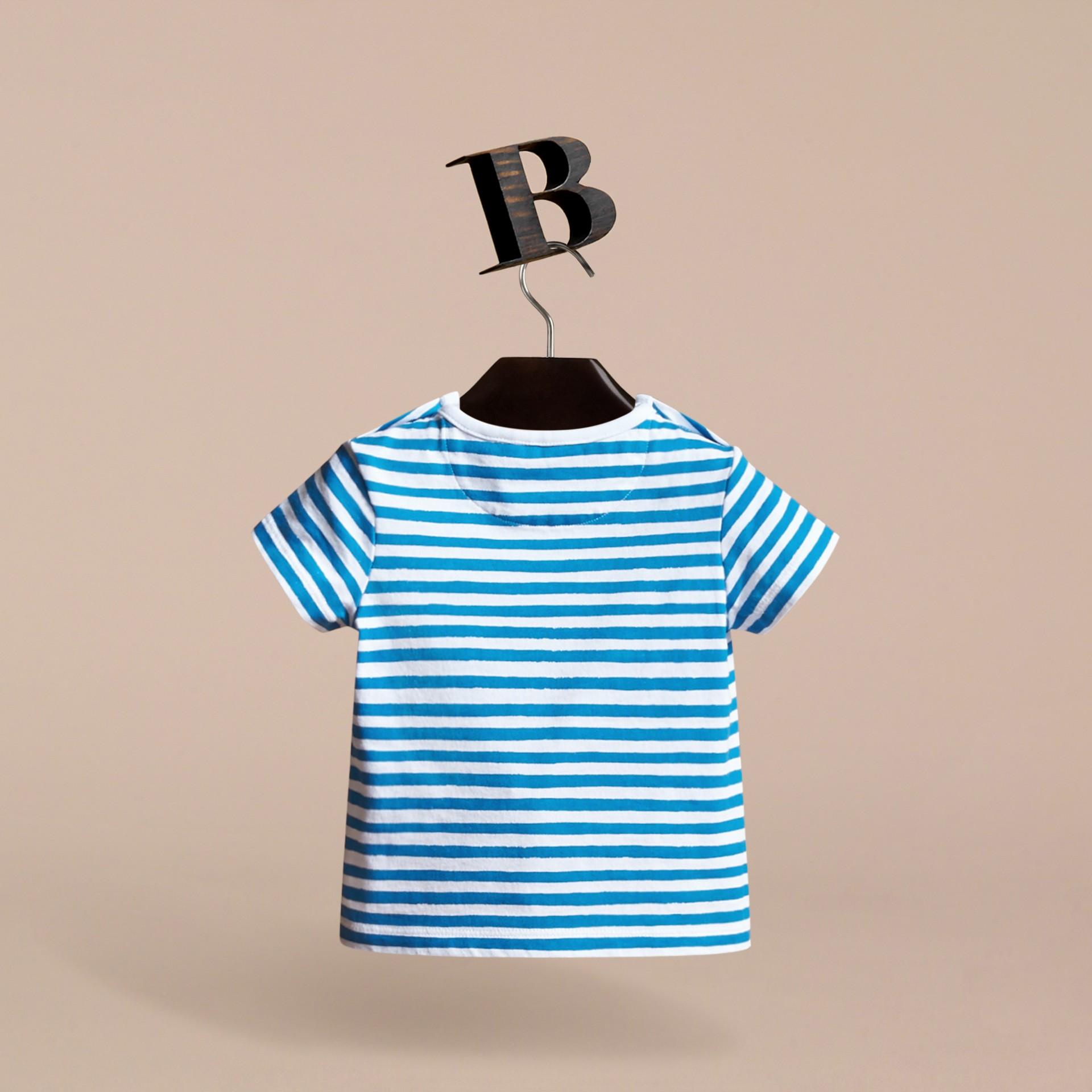 Pallas Heads Print Striped Cotton T-shirt - gallery image 4