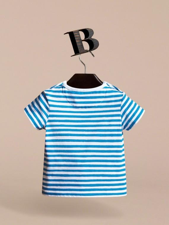 Pallas Heads Print Striped Cotton T-shirt - cell image 3