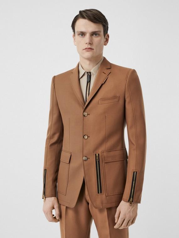 Veste de costume en laine avec zip (Noix Sombre)