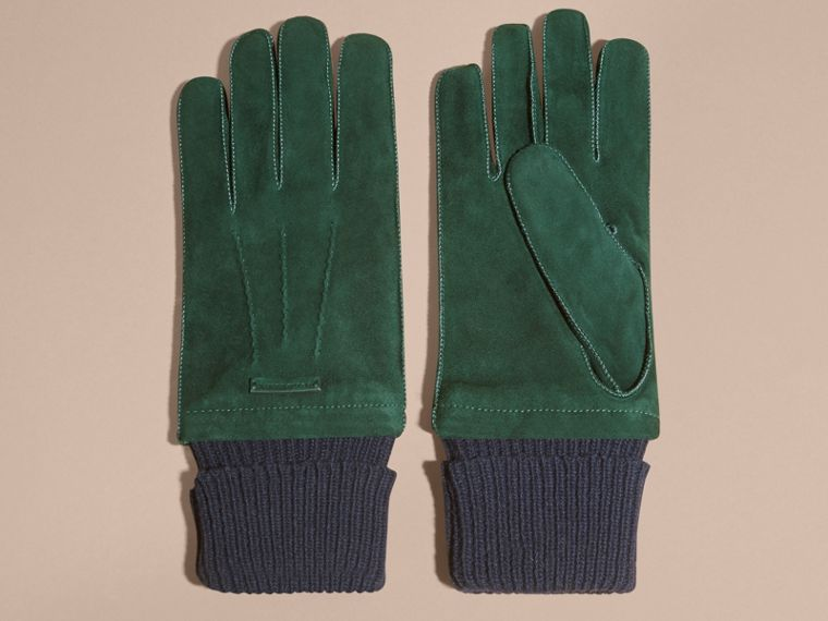Wool Cashmere Ribbed Trim Suede Gloves in Dark Cedar Green - cell image 2