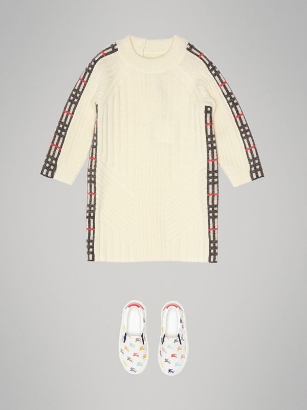 Check Detail Wool Cashmere Dress in Ivory - Children | Burberry United Kingdom - cell image 2