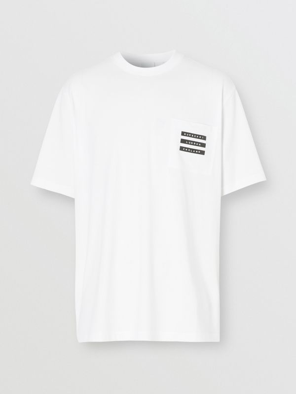 Tape Print Cotton T-shirt in White - Men | Burberry Singapore - cell image 3