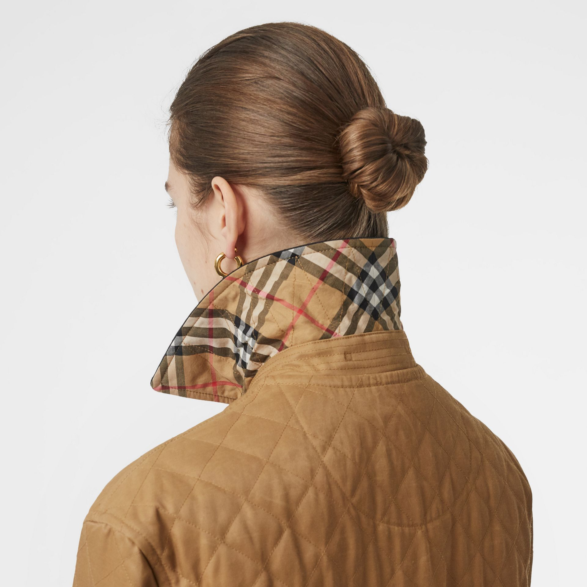 Diamond Quilted Barn Jacket in Camel - Women | Burberry - gallery image 4
