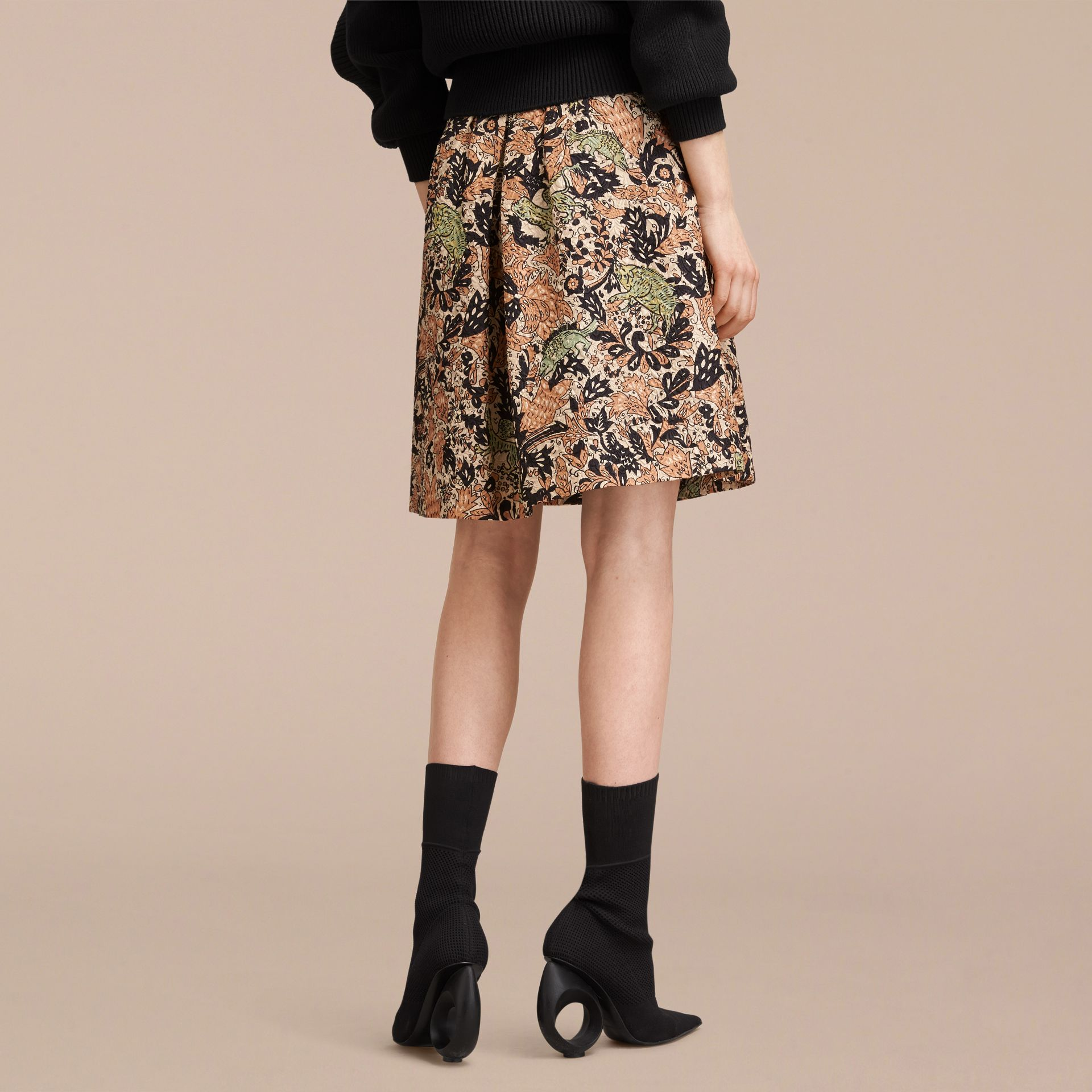 Beasts Print Technical Silk Voluminous Skirt - Women | Burberry - gallery image 3