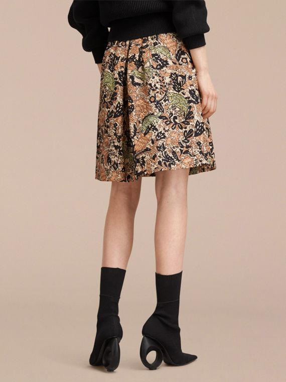 Beasts Print Technical Silk Voluminous Skirt in Antique Taupe Pink - Women | Burberry United Kingdom - cell image 2