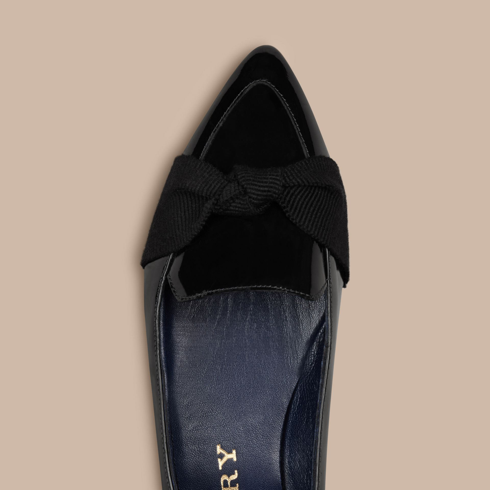 Navy Patent Leather Loafers with Grosgrain Bow Navy - gallery image 5