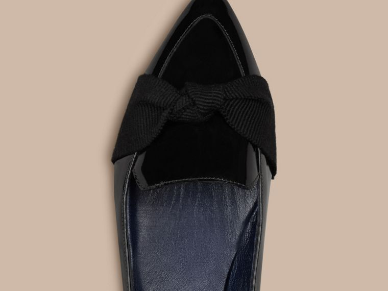 Navy Patent Leather Loafers with Grosgrain Bow Navy - cell image 4