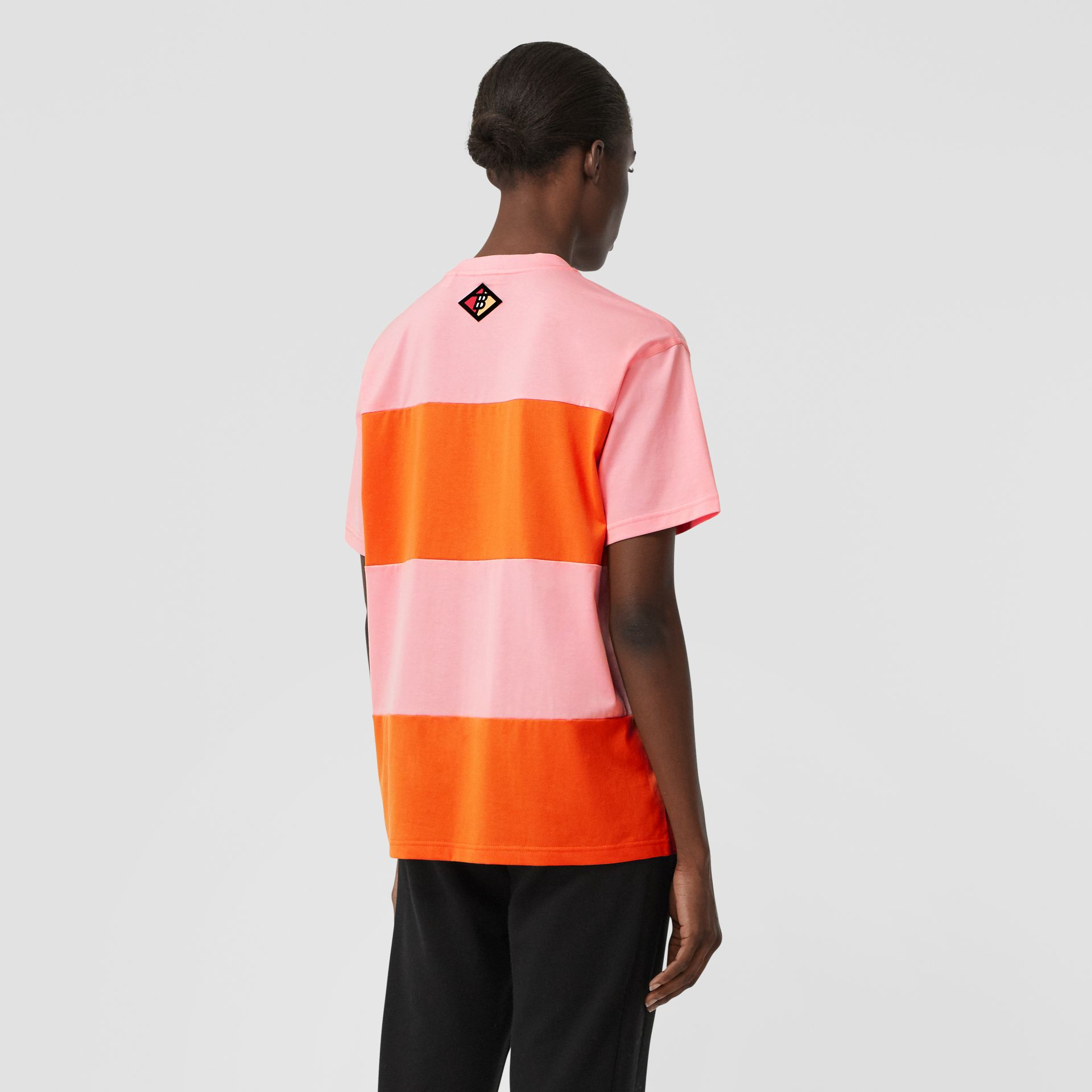 Logo Graphic Panelled Cotton Oversized T-shirt in Candy Pink - Women | Burberry - gallery image 2