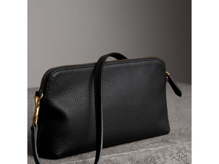 Embossed Leather Clutch Bag in Black - Women | Burberry - cell image 4