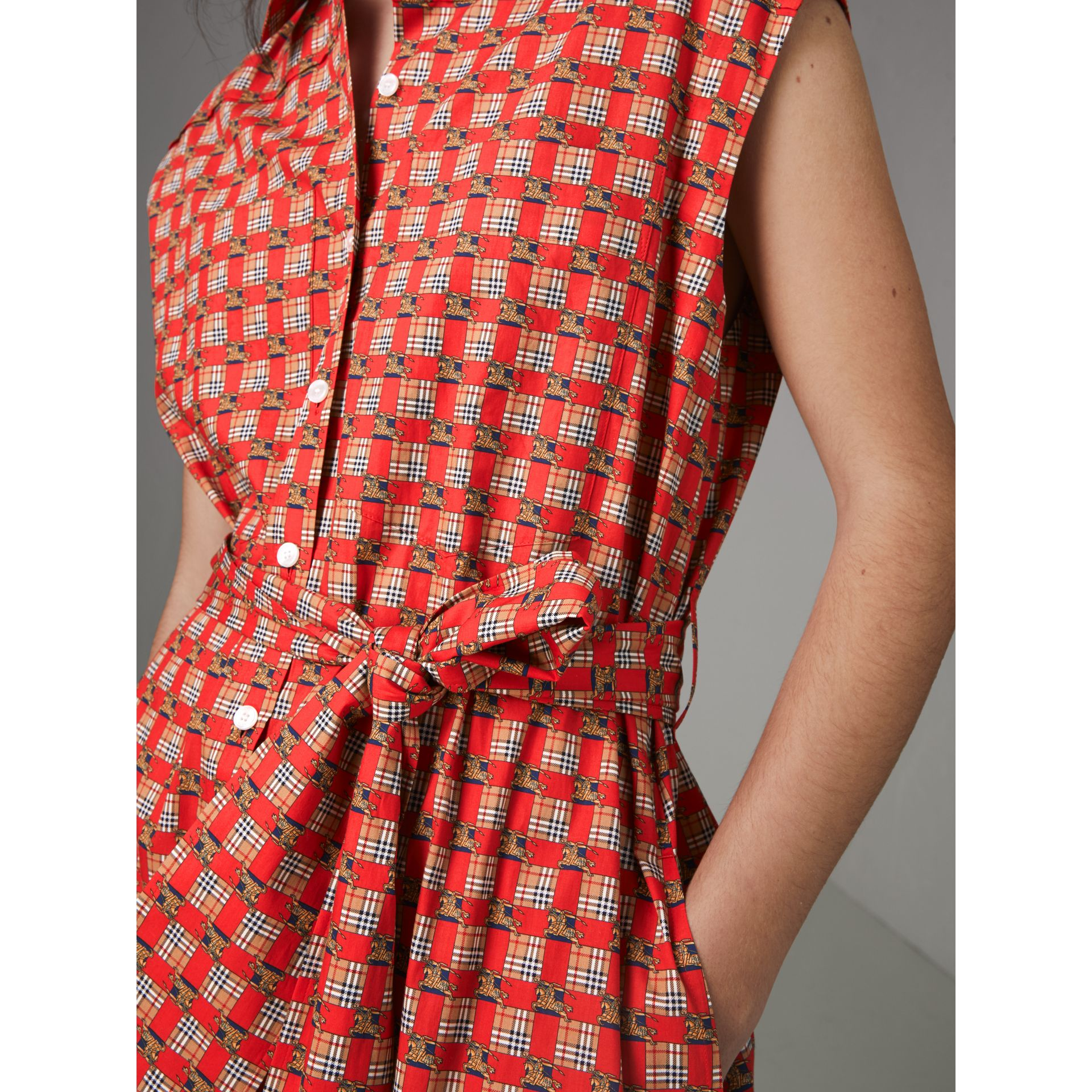 Tiled Archive Print Cotton Shirt Dress in Bright Red - Women | Burberry Australia - gallery image 1