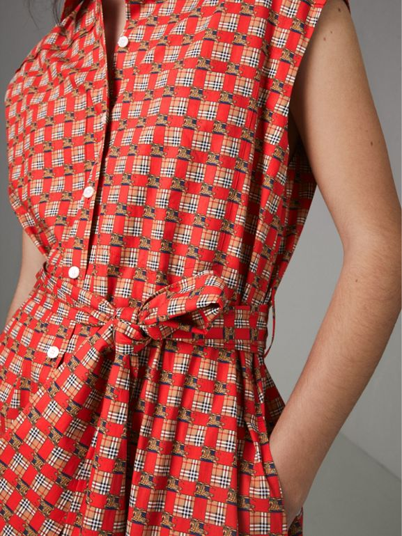 Tiled Archive Print Cotton Shirt Dress in Bright Red - Women | Burberry Australia - cell image 1