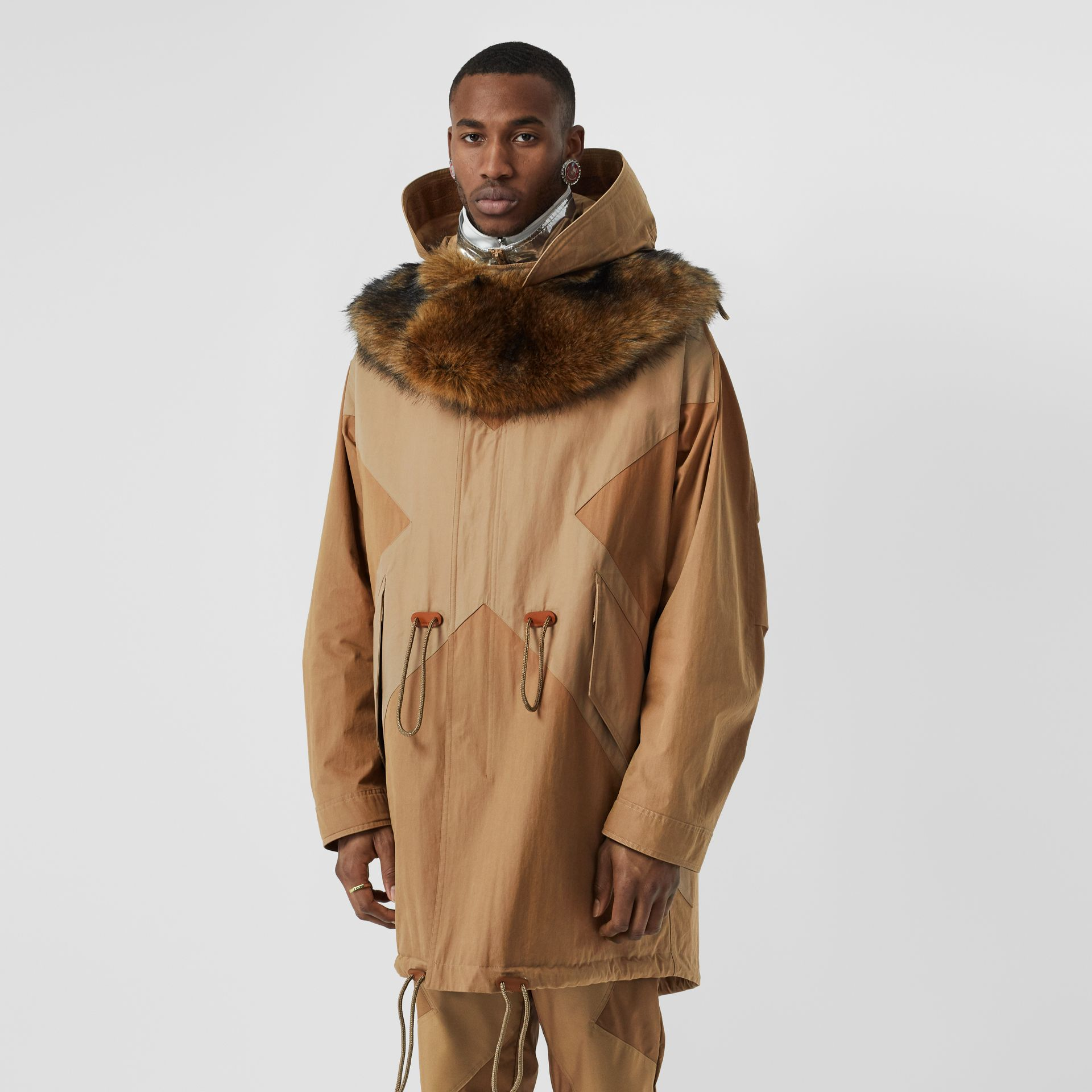 Detachable Hood Cotton Blend Parka in Warm Walnut - Men | Burberry - gallery image 5