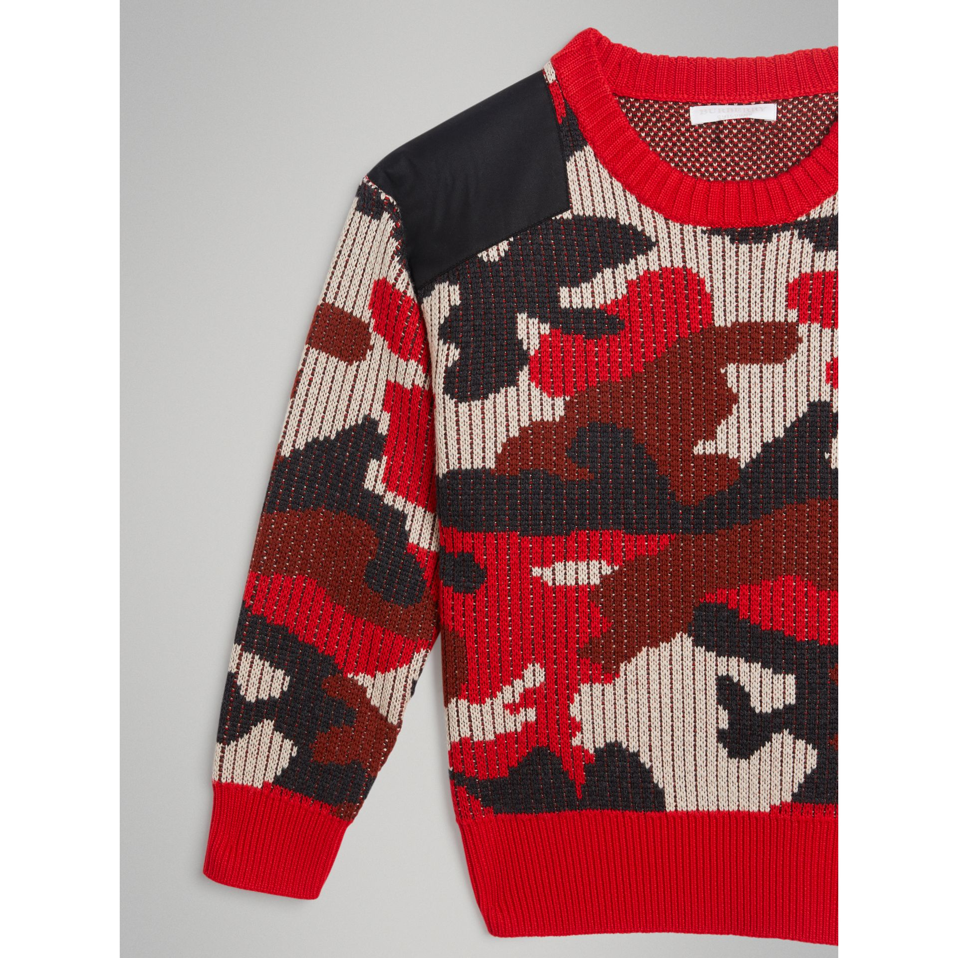 Camouflage Merino Wool Jacquard Sweater in Bright Red | Burberry - gallery image 4